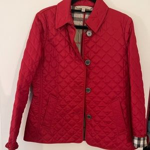 Burberry Brit Red Quilted Coat Size M Discontinued